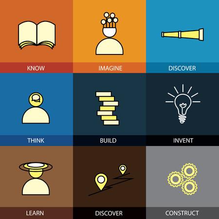 construct: Platte ontwerp set van vector lijn iconen van weten stel ontdekken denken dacht build constructie verzinnen creëer creatief leren ontdekken vinden kaart infographics stijlconcept collectie