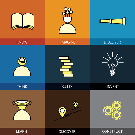 Flat design set of vector line icons of know imagine discover think thought build construct invent create creative learn discover find map infographics style concept collection