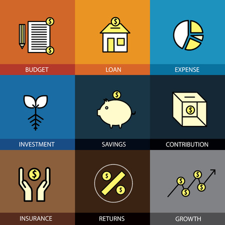 estimate: Flat design set of vector line icons of budget loan expense investment savings growth insurance returns contributions market graph dollar money infographics style concept collection