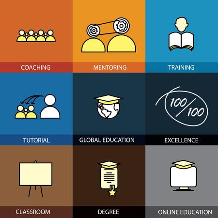 coaching: Design plat s�rie d'ic�nes de la ligne de vecteur de l'encadrement de mentorat formation scolarit� tutoriel classe en ligne et collection concept certificat de dipl�me d'�tudes coll�giales infographie de style de l'�cole de l'�ducation globale