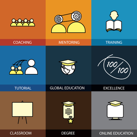 mentoring: Flat design set of vector line icons of coaching mentoring training tuition tutorial classroom online & global education school college degree certificate infographics style concept collection
