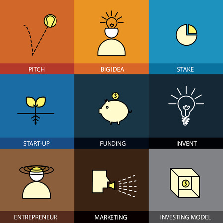 stake: Flat design set of vector line icons of pitch big idea invent entrepreneur stake funding marketing start-up investing model business businessman infographics style concept collection
