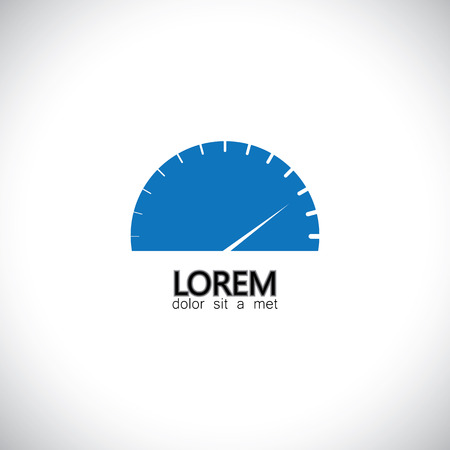 speed test: speedometer icon of car, automobile or vehicle - concept vector graphic. This icon also represents internet speed, data download speed, upload speed.