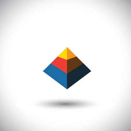 the polyhedron: concept vector 3d triangle icon in shape of polyhedron made of yellow orange red blue color slabs Illustration