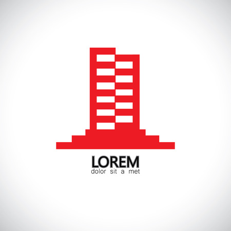 commercial real estate: abstract vector icon of a highrise skyscraper building with many floors. This concept graphic also represents commercial buildings, real estate market, assets & property
