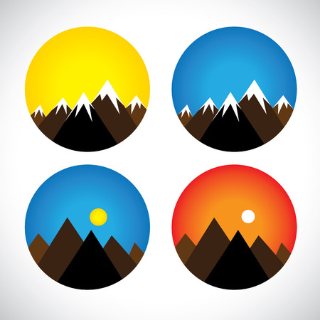 evenings: icons of hills & peaks with snow in evenings, mornings - concept vector graphic. The graphic can also represent mountain ranges like the himalayas, andes, alps and also adventure sports & activities Illustration