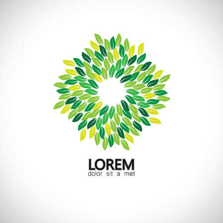 stylized green leaves icons arranged in circle - eco concept vector. This also represents ecological balance, evergreen forests, sustainable development & growth, balance in nature, harmony