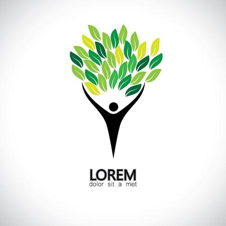 mensen boom pictogram met groene bladeren - eco concept vector.