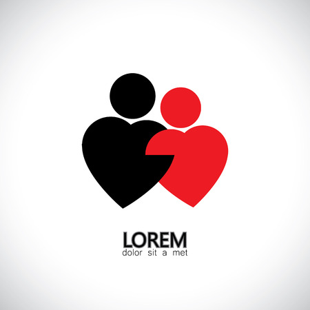 soul mate: icons for bonding, love & lovers, couple, pair - concept vector graphic.  Illustration