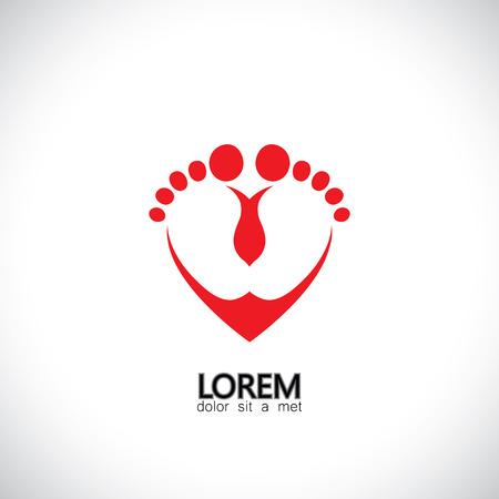 pie bebe: niño o bebé pies en símbolo del amor - el concepto gráfico de vector. La gráfica también representa icono de corazón con niños pequeños pies que representan el cuidado de niños, ayuda infantil, crianza de los hijos, de apoyo