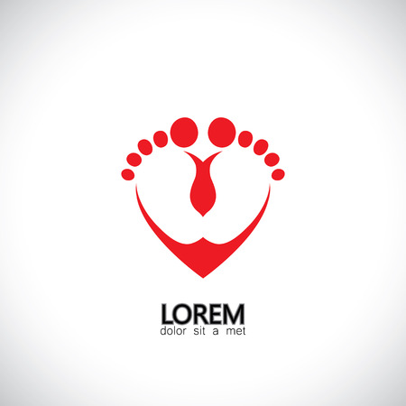child or baby feet in love symbol - concept vector graphic. The graphic also represents heart icon with toddlers feet representing child care, child help, parenting, support
