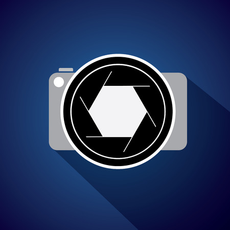 shutters: digital camera with large lens & shutter - concept vector icon. This also represents photographer taking pictures, photographic equipment for capturing images, etc