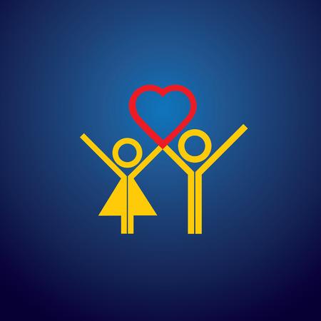 haciendo el amor: icono de vector de chico y chica pareja haciendo el amor en el d�a de San Valent�n. Este gr�fico representa tambi�n conceptos como expresar amor, proponiendo amor, solicitud de matrimonio, viven en relaci�n, compromiso, oferta