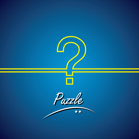 ambiguity: line vector icon of question mark or puzzle. The graphic is drawn using a yellow line on blue background