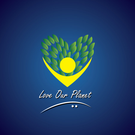 sustainable development: person loving trees, plants & nature - eco concept vector. This also represents nature conservation, green technology, sustainable development & growth, balance & harmony, charity, education, giving