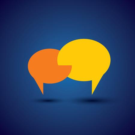채팅 또는 기호 또는 연설 거품 이야기 - 개념 벡터. 이것은 또한 친밀한 관계, 깊은 통신, 사랑 이야기, 토론, 열린 대화, 가까이 상호 작용을 나타냅니 일러스트