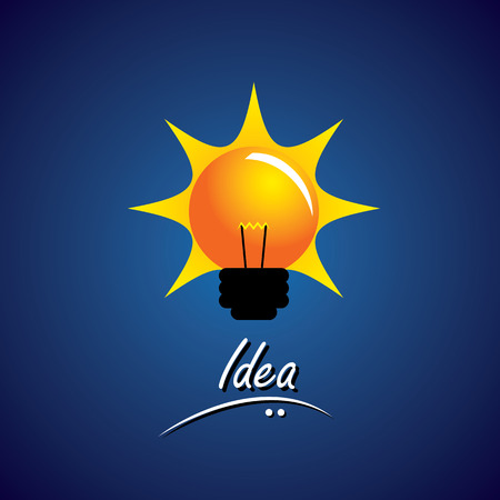 intuitive: concept vector of bulb glowing bright with smart ideas. This also represents problem solving, creative thinking, smart work, innovative solutions, intuitive mind, fertile thought, wise ideas