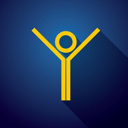 ser humano: icono del vector del ser humano activo y saludable. Esto también representa niño feliz o niño, estudiante excitado, atleta ganador, persona que celebra la victoria Vectores