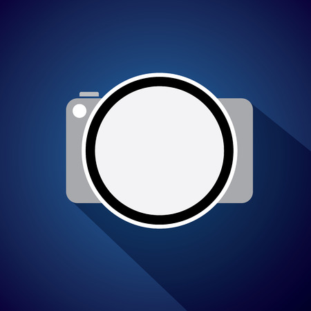 digital camera: vector icon of digital camera with flat style and long shadows. Illustration