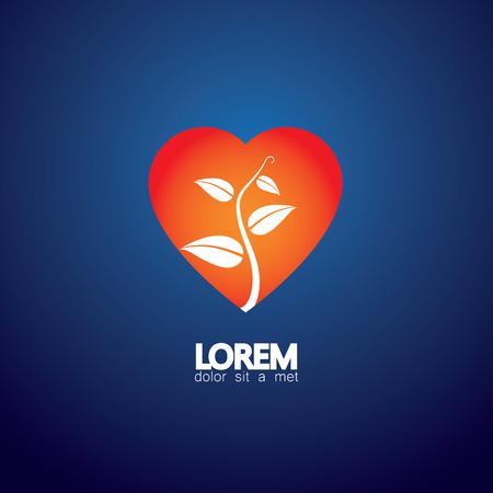 synergie: Herz und Anlagenkonzept der liebende Natur - �ko-Vektor-Symbol. Diese Grafik stellt auch den Naturschutz und den Schutz, Frieden und Harmonie, Ausgeglichenheit und Synergien, etc Illustration