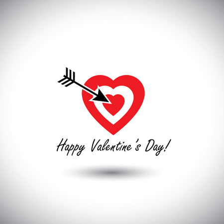 human heart icon as target for arrow for valentines day - simple vector. This has the words happy valentines day handwritten and can be used in greeting cards, websites, prints Illustration