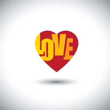 inset: human heart icon and love words inside it - simple vector graphic. This has the love icon with love word inset inside the shape & can be useful for websites, documents, apps, printing