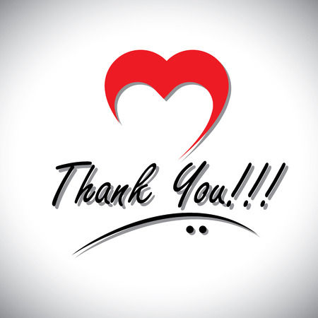 gratitudine: Grazie parole scritte a mano vettore con l'icona del cuore o amore. Questa gratitudine rappresenta anche esprimere, cuore sentiva desideri, coperchio della scheda, ringraziamento desideri giorno, riconoscere gli altri, auguri di cuore Vettoriali