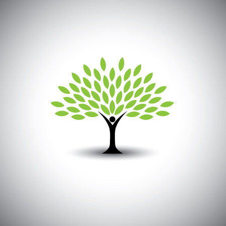 people embracing tree or nature - eco lifestyle concept vector. This graphic also represents harmony, nature conservation, sustainable development, natural balance, development, healthy growth Stock Illustratie