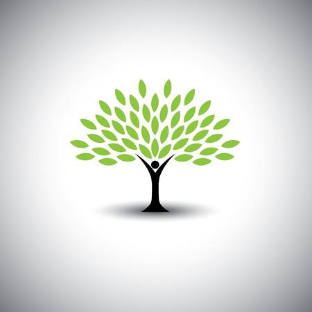 personas que abrazan el árbol o la naturaleza - estilo de vida ecológico concepto vectorial. Este gráfico también representa la armonía, la conservación de la naturaleza, el desarrollo sostenible, el equilibrio natural, el desarrollo, el crecimiento saludable