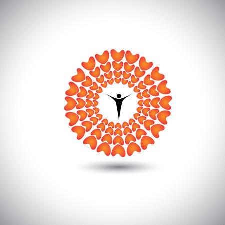 empatia: flor de corazones del amor con la persona compasiva en el centro - icono vectorial concepto. Este gráfico representa también la armonía esperanza equilibrio humanidad empatía