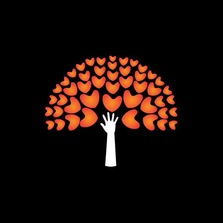 emergence: tree of love hearts and hand in support - concept vector icon. This graphic also represents harmony hope humaneness balance empathy expansion growth