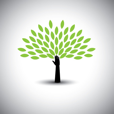 growth: human hand & tree icon with green leaves - eco concept vector. This graphic also represents environmental protection, nature conservation eco friendly growth & expansion, sustainability nature loving