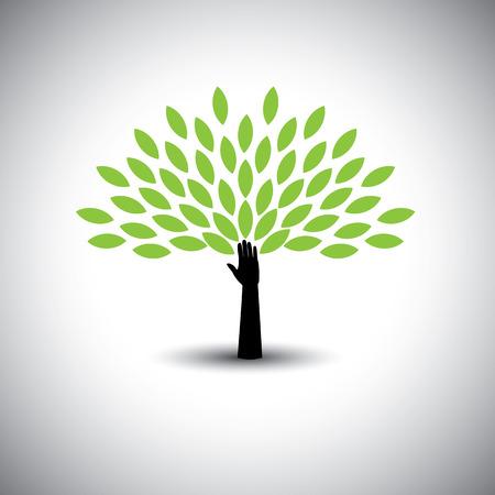 menselijke hand & boom pictogram met groene bladeren - eco-concept vector. Deze grafische vertegenwoordigt ook milieubescherming, natuurbehoud milieuvriendelijk groei en expansie, duurzaamheid natuur liefhebbende