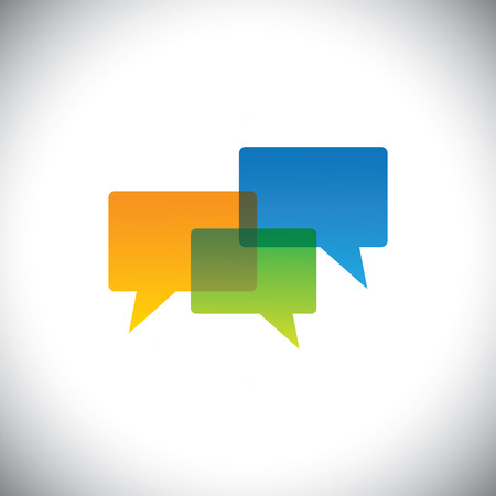 style advice: vector icon of empty colorful chat icons in transparent colors. This also represents people meeting, discussions, forum interactions, social media exchanges, contact us and faqs of websites