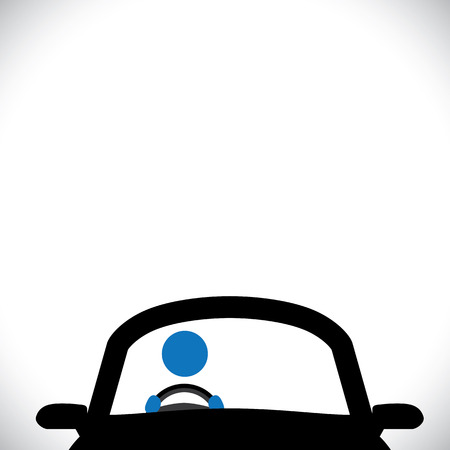 chauffeur: car driver icon or symbol - vector graphic. this graphic shows a steering wheel, a cabbie, part of front of a car with copy space at the top for text Illustration