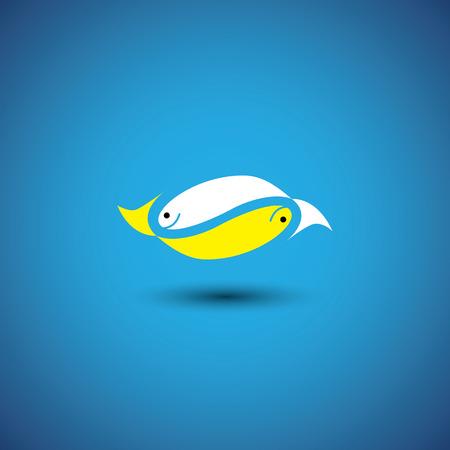 pez cristiano: par de peces por amor profundo - vector gráfico. esto también representa lugares tropicales exóticos viajes, el turismo, el acuario, los deportes acuáticos de aventura, amor de pareja, etc. Vectores