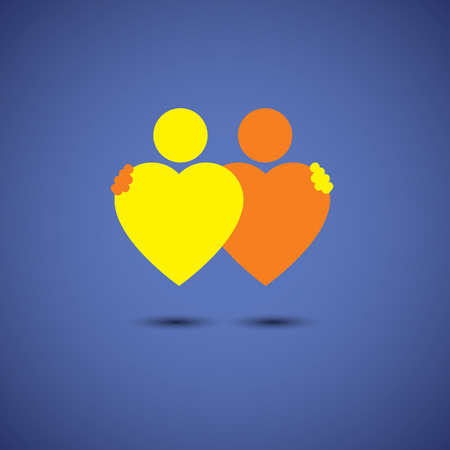 romantic couples: friendship hug, couple in deep love concept vector icon of hearts together. This also represents couple in love, hug & embrace, close friends together, events like engagement, marriage, live-in