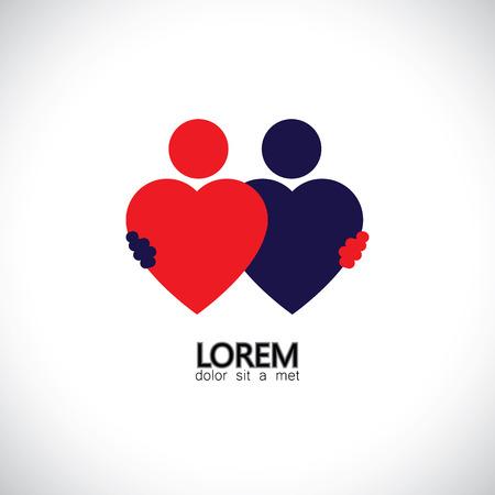 amistad, amigos abrazos, unión icono vector de concepto del amor de los corazones. Esto también representa pareja en el amor, abrazo y abrazo, amigos cercanos, eventos como el compromiso, el matrimonio, en vivo-en