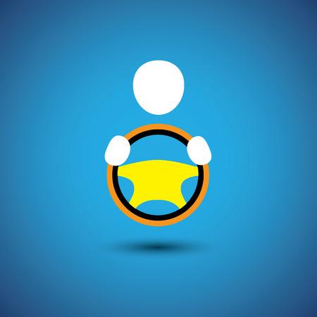 taxista: coche, vehículo o el conductor del coche icono o gráfico vectorial simbolismo. esto muestra un icono de taxista con la mano que sostiene el volante