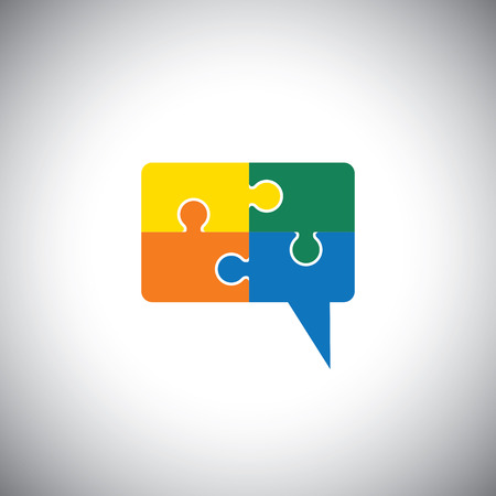 vector icon of talk or chat icon or speech bubble as puzzle. This graphic can represent communication process, people interaction, speech & understanding, discussion & listening, know & learn Vector