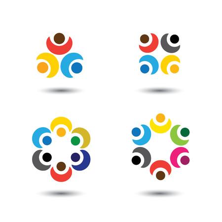 girotondo bambini: set di icone di persone colorate in cerchio - vettore concetto di scuola, i bambini. questo rappresenta anche comunit� social media, il leader e la leadership, l'unit�, amicizia, gruppo di gioco, i dipendenti e meeting