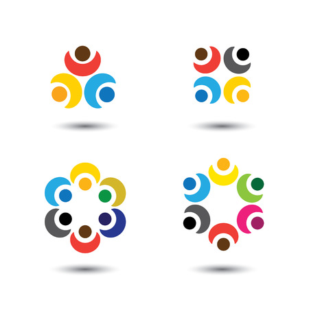 friendship circle: set of colorful people icons in circle - vector concept school, children. this also represents social media community, leader & leadership, unity, friendship, play group, employees & meeting