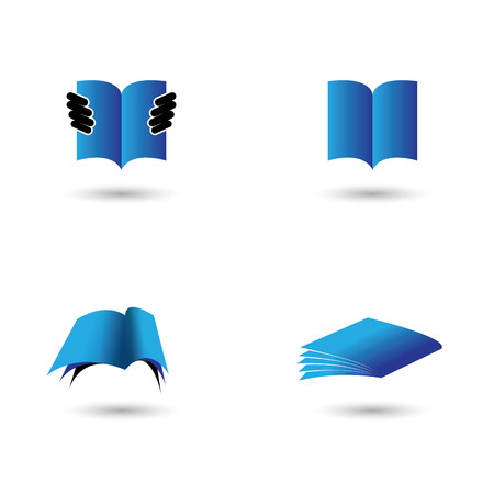 set of book icons in blue color - vector graphic. this also represents school, learning, education, library, ebook, online documents like pdf, doc Vector