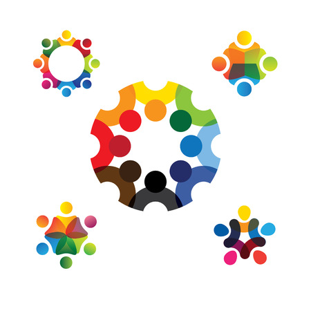 totality: collection of people icons in circle - vector concept engagement, togetherness. this also represents social media community, leader & leadership, unity, friendship, play group, employees & meeting Illustration