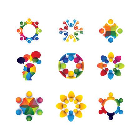 familias unidas: colección de iconos de personas en círculo - vector concepto de unidad, solidaridad. esto también representa comunidad social los medios de comunicación, el líder y el liderazgo, compañerismo, amistad, grupo de juego, diversión y felicidad
