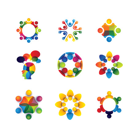 collection of people icons in circle - vector concept unity, solidarity. this also represents social media community, leader & leadership, togetherness, friendship, play group, fun & happiness Vector