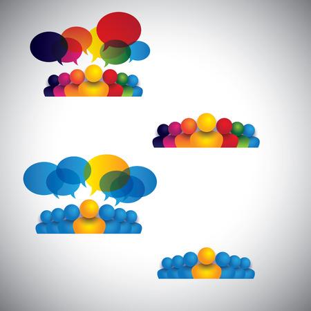 comunidad: colección de iconos de personas de liderazgo, la amistad - vector concepto. esto también representa la comunicación social los medios de comunicación, internet o web chat, redes sociales y la interacción, la comunidad en línea, foros de discusión