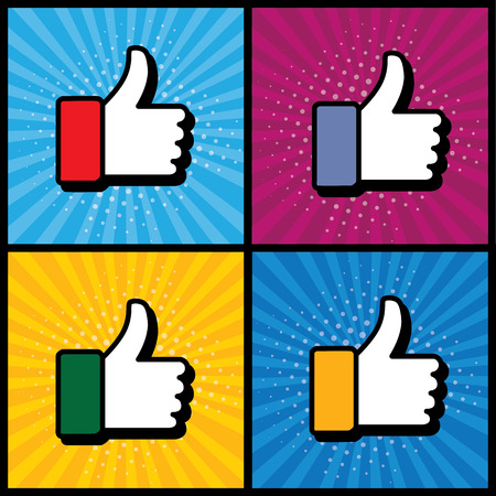 pop up: pop art thumbs up & like hand symbol used in social media - vector icons collection set. this also represents appreciation, endorsing, approval, confirmation, vote, recommend, gesture