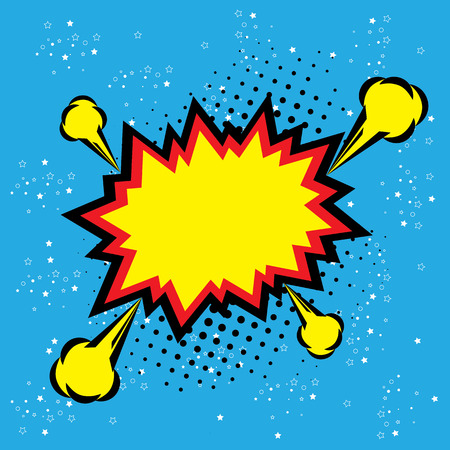 explosion steam bubble pop-art vector - funny funky banner comics background. this also represents a big bang, thunder, emphatic explosion, roaring voice, scream, booming vehicle, big sound Ilustracja