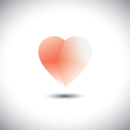 light & transparent heart icon representing love emotion - vector icon. This pink icon also represents passion, romance, friendship, relationship, bonding, compassion, empathy